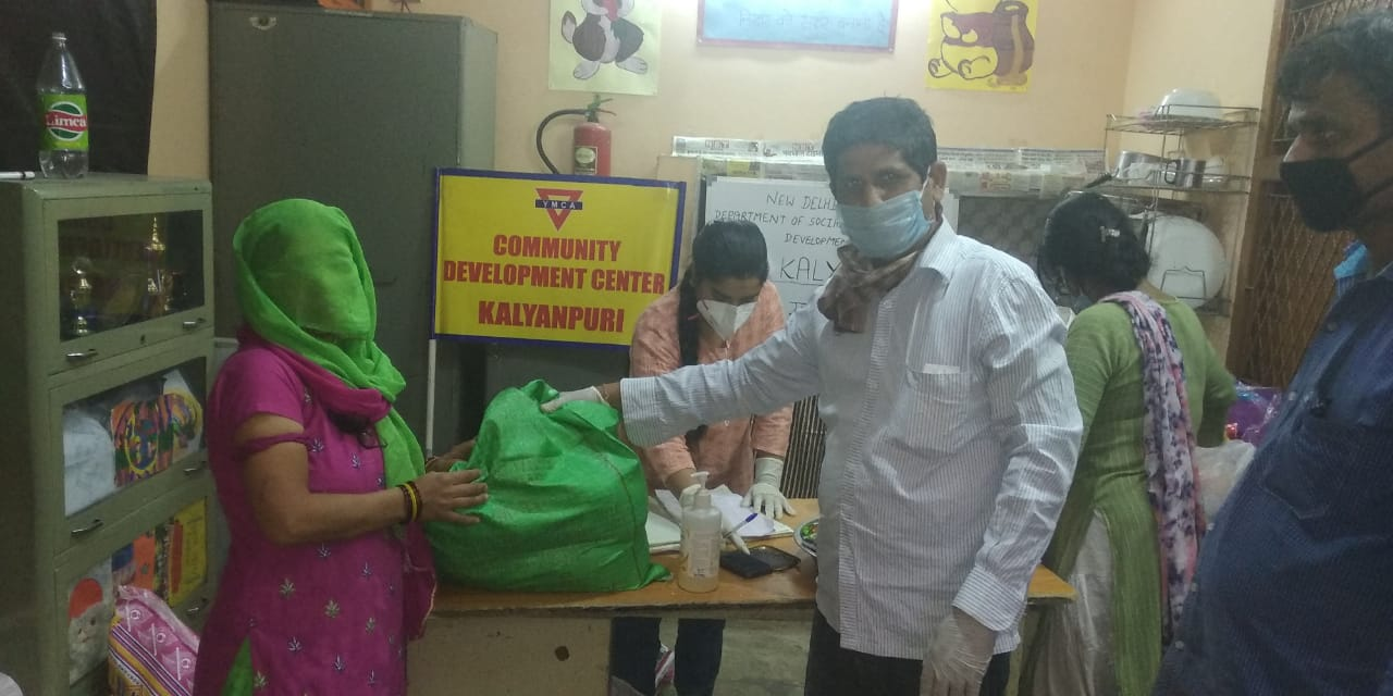 Essential items distribution at CDC Kalyan Puri